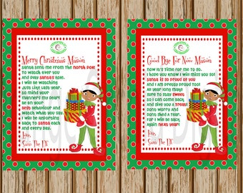 African American Boy Elf Hello Letter- Elf Goodbye Letter- Both Letters Included- Personalized Elf Letter- 8.5 x 11 size-Print Your Own