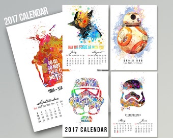 2017 Star Wars Calendar with 8 pages beautiful Watercolor Painting of the Star Wars Art Movie Gift for Children Room Decor For your Chidren