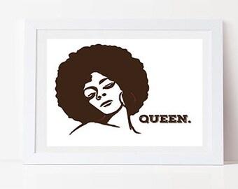 Queen Quote, Black Art, Ethnic Art, African American Art, Afro Art, Printable Wall Art, Printable Art, Printable Quote