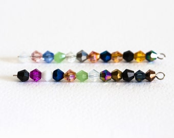 1472_Bicone beads 4 mm, Crystal beads, Varicoloured glass beads,Glass jewelery,Faceted glass beads,Crystals for jewelry,Bicone crystal_95pcs