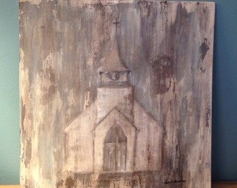 Church Uncovered- painting//art//chippy paint//distressed wood