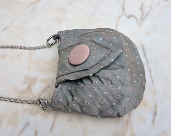 Grey and pink tie handbag