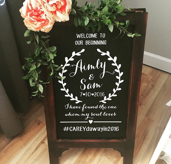 Wedding Chalkboard Ideas: Welcome To Our Wedding Wedding Chalkboard Easel Chalkboard