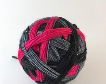 Bright Stripes: Hot Pink - Self Striping - A1 Sock - 80/20 SW Merino/Nylon 100g