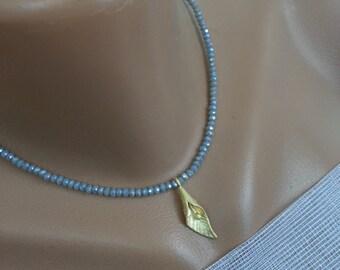 Elegant golden lily ..Lilac crystal beads...Lady elegance ..