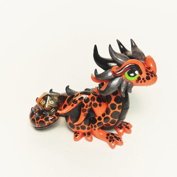 Polymer Dragon Dice Holder- Orange, Black, and Gunmetal Dragonling: Jagger