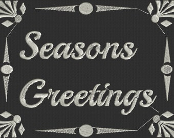 """Chalkboard style """"Seasons Greetings"""" EMBROIDERY DESIGN FILE - Instant download - 5x7 & 4x4 frames - Exp Xp3 Dst Hus Jef Pes formats"""