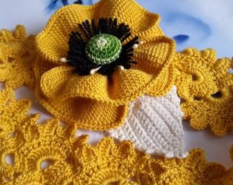 Poppy Headband Crochet Yellow Poppy headband  hair band Flower baby hair accessories crochet poppy
