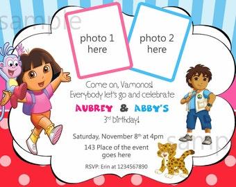 Dora and Diego Birthday Invitation. Dora and Diego Invitation. Dora and Diego Party. Twins Invitation. Digital (you print)
