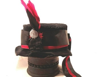 Steampunk hat clothing Gothic hat clothing Vampire hat clothing: Victorian red and black mini top hat, Handmade in uk FREE P&P uk