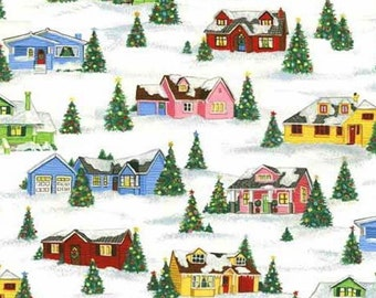 Andover -  Winter Wonderland -TP12531 - Hendley Studios - Retro Christmas - Houses - Winter -  Trees - Novelty - One More Yard