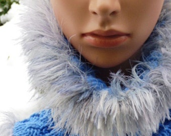 Snood, Blue with Silver Faux Fur, Cowls, Infinity Scarves, Hats, Women's Fashion Accessories, Outside Winter Apparel, Holiday Gifts