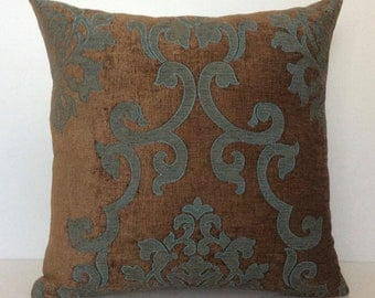 Chocolate Brown and Teal Pillow, Throw Pillow Cover, Decorative Pillow Cover, Cushion Cover, Pillowcase, Accent Pillow, Velour Blend Pillow.