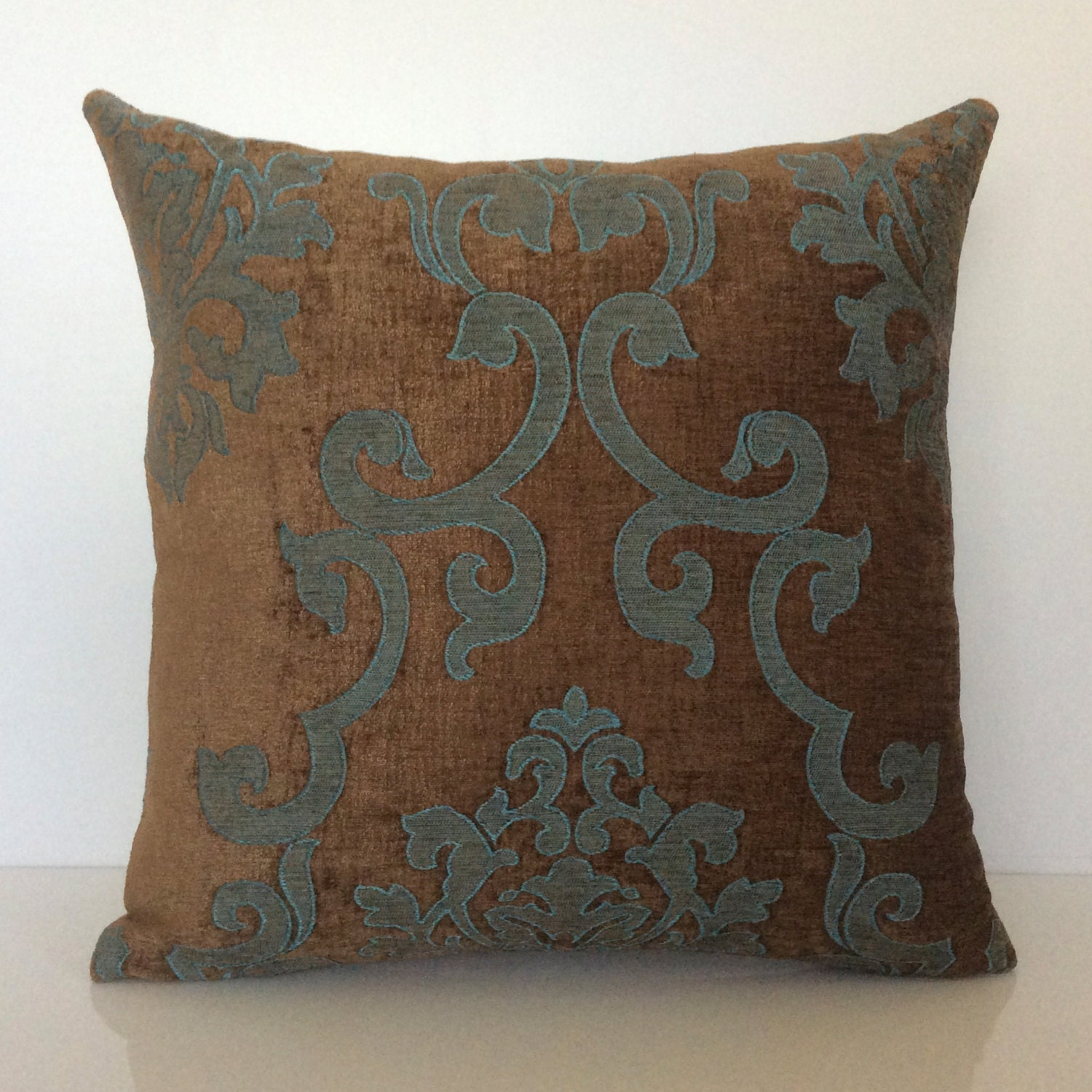 Decorative Pillows Brown : Chocolate Brown and Teal Pillow Throw Pillow Cover