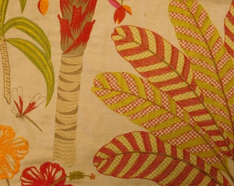 COWTAN & TOUT TROPICAL Palm Tree Birds Embroidered Linen Fabric 10 Yards Red Multi