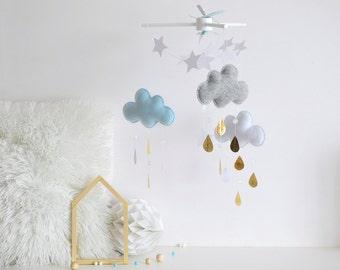Baby mobile - Cloud mobile - Raindrop mobile - Felt mobile - Gold - Nursery decor - Rain cloud mobile - Star mobile-Raindrop - Crib mobile