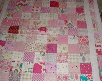 Modern baby girl quilt, I spy baby quilt