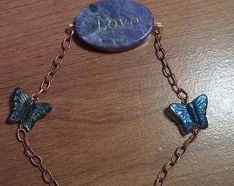 Really Cute Copper & Blue butterfly Love bracelet
