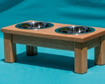 "Elevated Dog Feeder 6"", Two Stainless Steel 1 Quart Bowls, Solid Oak Wood"
