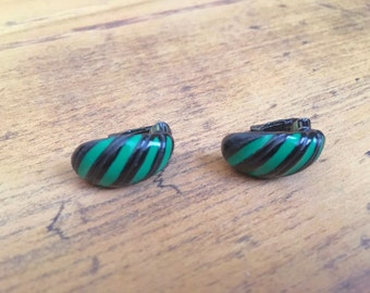 Vintage 1970s Green and Black Clip-On Earrings, Costume, Dress Up, Halloween