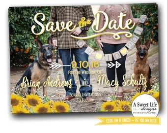 Sunflower Save The Date Photo Card - Rustic Barn Wedding - Coordinating Wedding Invitation Suite available - String Lights & Barn Wood