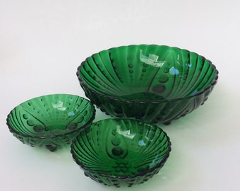 Vintage Anchor Hocking Burple Bowls, Green Glass Bowls, Emerald Green Serving Bowls, Set of Three