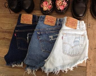 XS Classic Vintage High Waisted Denim Shorts