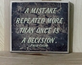 A mistake wood sign, life lesson wall decor, positive quotes, inspirational quote, home decor wall art, wood signs sayings