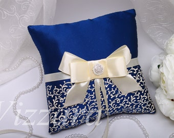 Lace Wedding Pillow Navy blue -Hand PAINTED- Ring bearer pillow Wedding ring Pillow blue Wedding Pillow blue Wedding Ring Bearer Pillow blue