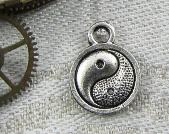 Set of (12) Silver Yin Yang Ying Yang Charm 12 per package SYM005