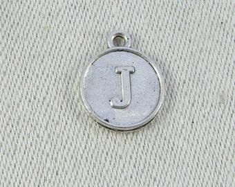"Silver Medallion Letter ""J"" Charm, 1 or 5 letters per package ALF012j"