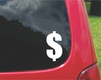 Set (2 Pieces) Dollar Sign Sticker Decals 20 Colors To Choose From.  U.S.A Free Shipping