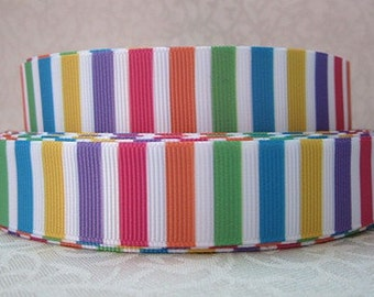 7/8 inch - CANDY COLOR Vertical STRIPES With White  - Printed Grosgrain Ribbon SM108 for hair bows