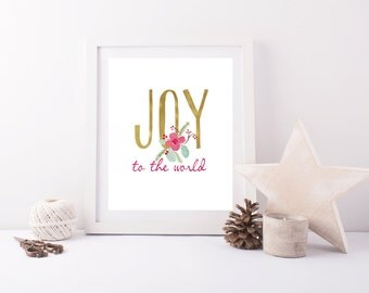 Joy to the World Wall Art, Gold letters with Christmas Watercolor Flower Accent, Christmas Decor, Holiday Printable, Christmas Print, Red