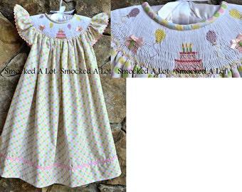 Smocked Girls Birthday Cake Balloons Presents Dress- Pastel Polka Dots