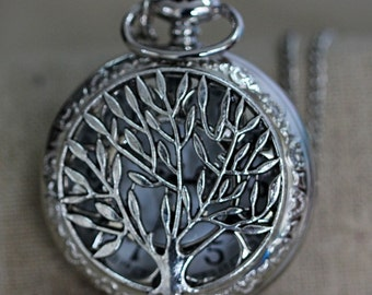 The silver tree of life Pocket Watch Necklace Pendant man Jewelry Vintage Christmas gift Valentine's Day