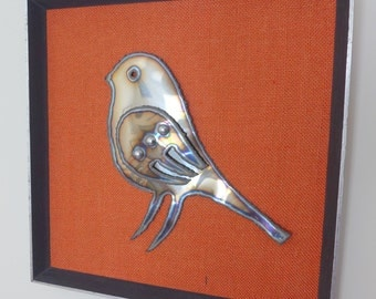 Framed Burnished Metal Bird Plaque - Artist Made - Unusual Item - 1980's ?