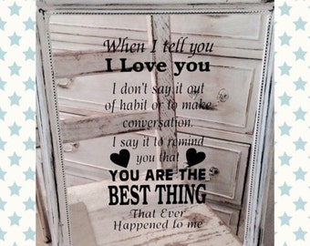 When I Tell You I Love You Shabby Chic Glass Art