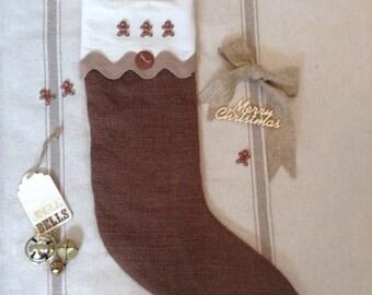 Burlap Gingerbread Christmas Stocking