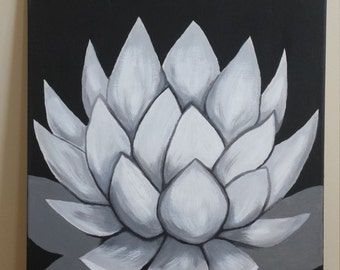 Agave On Canvas~Black And White Contemporary Art Painting
