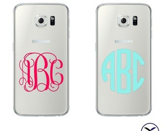 Samsung Galaxy S6 Vinyl Monogram Decal - Various Colors and Fonts Available