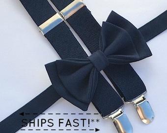 Navy Bow Tie & Navy Suspenders -- Ring Bearer Outfit -- Boys Wedding Outfit  -- Grooms Bow Tie Suspenders
