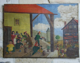 French oil painting circa 1950 showing medieval feasting scene, the style is naive with worn patina. Charming piece.