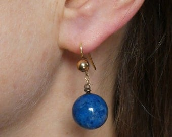 14k gold & lapis ball earrings