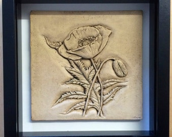 Ceramic Hand carved Poppy in stone wash finish-Limited edition READY TO SHIP