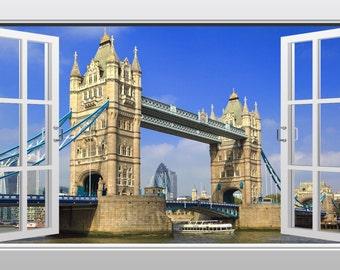 Tower Bridge in London 3D Windowscape Wall Art Sticker- VPRNT1063