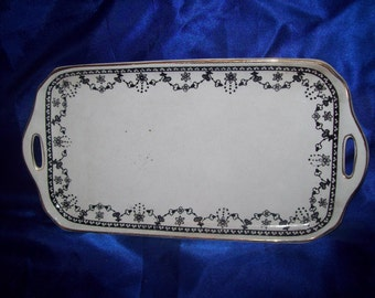 A Vintage Black & White Rectangle Dish/Tray