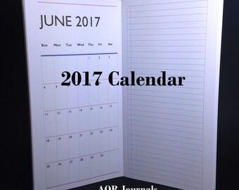 Midori Travelers Notebook Insert. 2017 Calendar. 40 cover color choices & 9 Traveler's Notebook Sizes