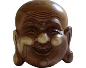 Happy Budha Mask, Hand Carved Wood