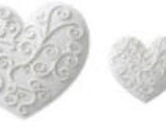 Fancy Hearts- White Pre-Made Ready To Use Cake / Cupcake Gum Paste Decorations